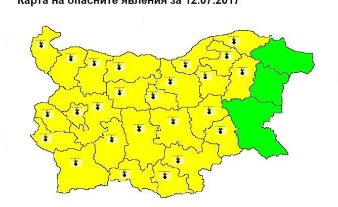 Жълт код за опасно високи температури в страната на 12 юли